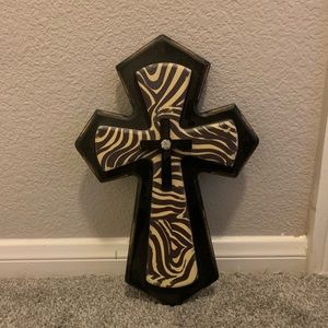 Chic Zebra Cross w/ rhinestone Wall decor